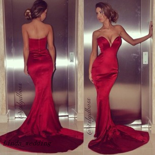 Free Shipping Sexy Tight Fitted Red Prom Dress New Arrival Backless Long Mermaid Dress Formal Dresses