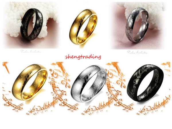 18Pcs Stainless Steel Lord of the Ring Smooth-sided Mens Jewelry Mix Gold Silver Black Size 17-21mm
