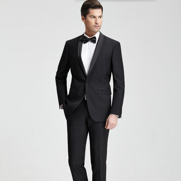 Tailor made men suits elegant fashion men wedding suits tuxedos black lapel one button groomsman suits prom suits tuxedos(jacket+pants)