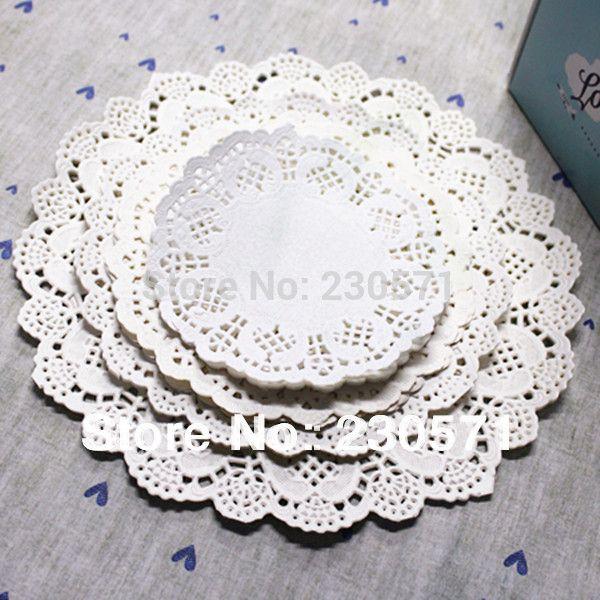 """Wholesale-160pcs/lot 4.5""""&5.5""""6.5""""7.5""""&8.5"""" Sizes Round Lace Flower Paper Doilies Placemat Crafts for Wedding Party Decoration Supplies"""