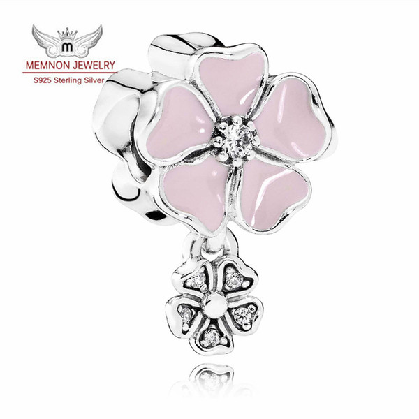 Spring Collection Poetic Bloom with Enamel charmS 925-Sterling-Silver charms fit beads bracelet necklace DIY flower charm fine jewelry MN337