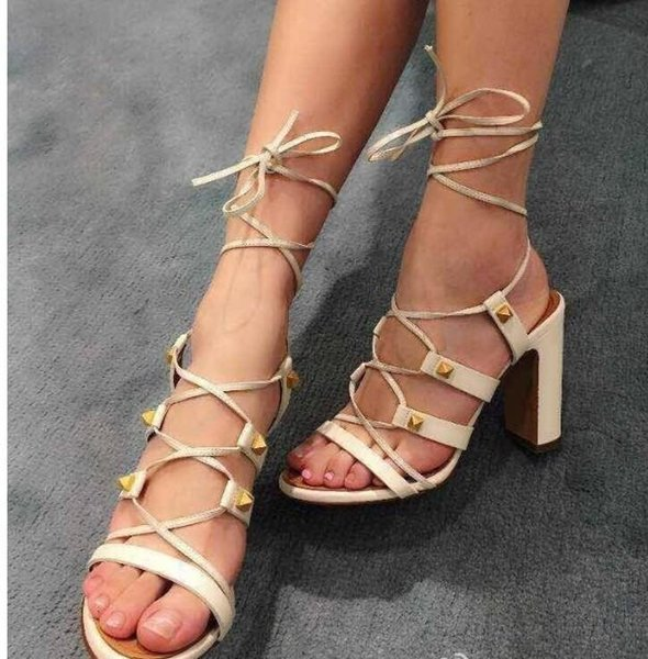 high quality!u574 34/40/41 genuine leather rivet cross tied sandals v luxury designer classic black white 2016 summer camel black beige