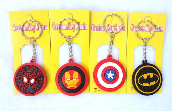 New 100 pcs Mixed Cartoon Round Avengers/Superman/Batman/Spiderman/Iron Man/Silicone Pendant Figure Model Key Chain For Best Gift