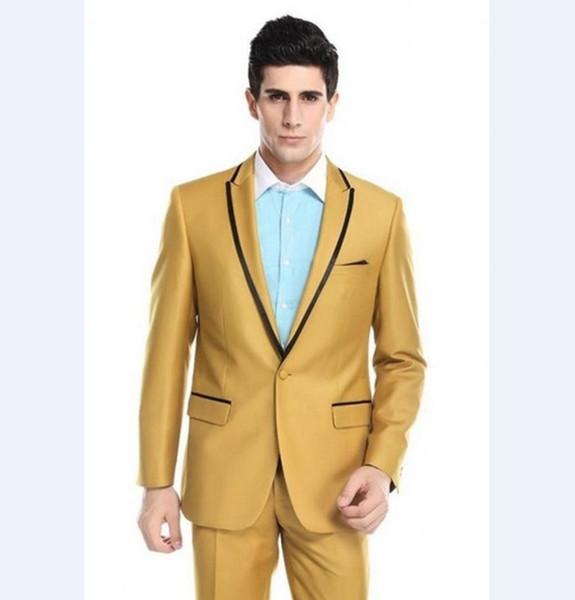 Date Groomsmen Peak Lapel Groom Tuxedos Or Hommes Costumes De Mariage / Prom Meilleur Homme Blazer (Veste + Pantalon + Cravate) A434
