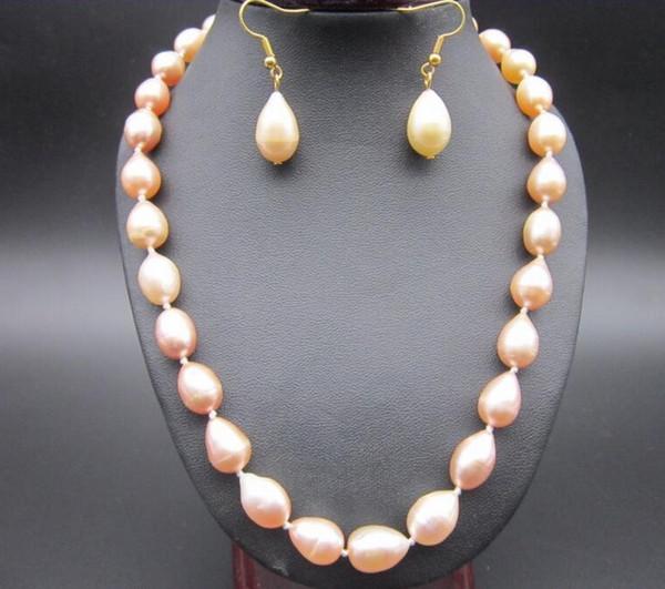 Collier de perles de roche AAA10-12mm mer de mer rose Boucles d'oreilles14k
