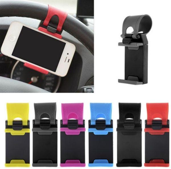 10pcs/lot Universal Car Steering Wheel Mobile Phone Holder Elastic Design Mobile Phone Holder Stand For Smart Phone GPS MP4 PDA