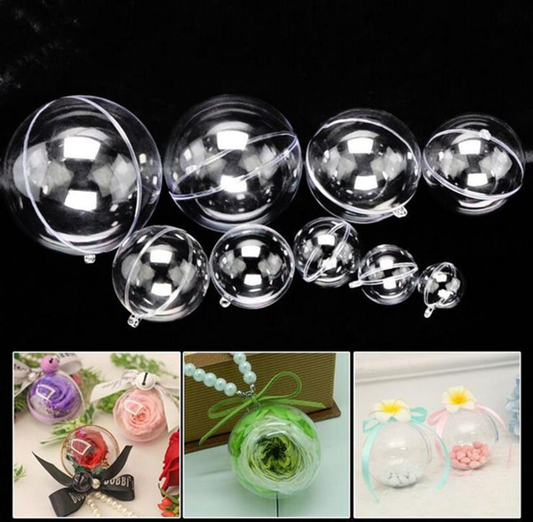 top popular 200pcs 5cm 8cm 10cm beauty transparent hanging christmas ball baubles clear plastic christmas ornaments fast shipping 2019