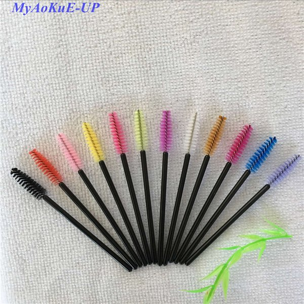 500 Pcs/Lot 29 Colors Disposable Nylon Eyelash Brush Mascara Wands Applicator Spoolers Brush Makeup Kit Brush Eyelash Extension