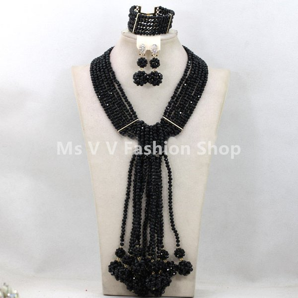 2019 luxury 6 rows black ball Gorgeous Costume African Jewelry Sets Nigerian Beads Wedding Jewelry Set Crystal Jewelry Set Free Shipping