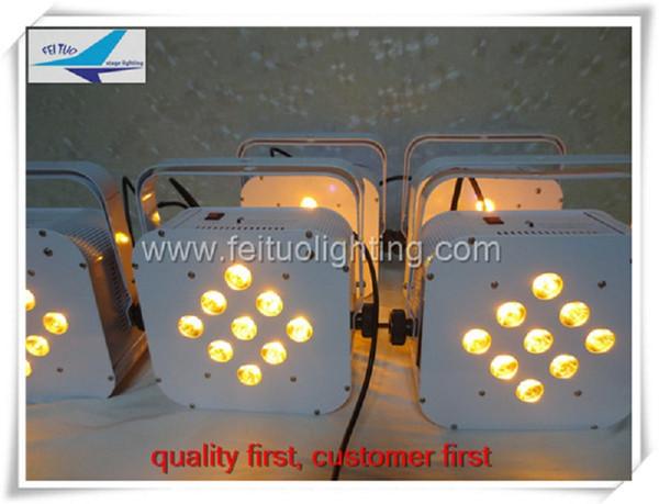 (24 unids / lote) etapa de envío gratis iluminación inalámbrica alimentado por batería led par plano 9x15w rgbwa 5in1 plana par par puede