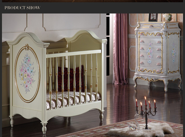 European luxury baby room furniture - French royalty baby bed - solid wood carved furniture with gold leaf gilding
