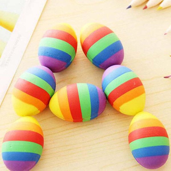 New 5 pcs/lot Novelty Colorful Egg Shape Cartoon Rubber Eraser Creative Stationery School Supplies Papelaria Gift Prize for Kids