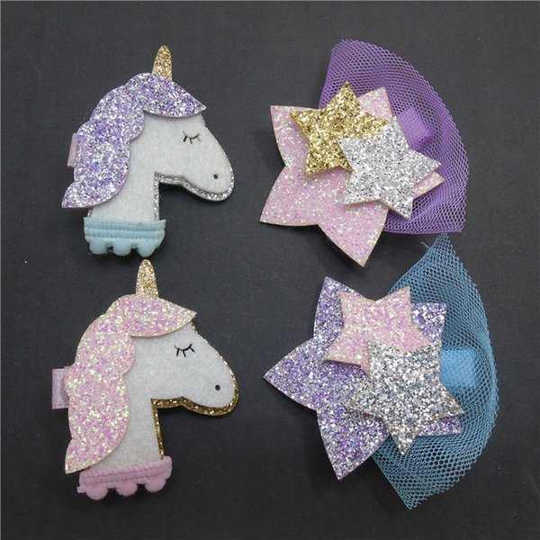 50pcs/lot Silver Gold Glitter unicon star Hair Clip Pink purple Felt Bow Barrette with Pom Pom Cute Toddler Animal Ear Hairpin A7515