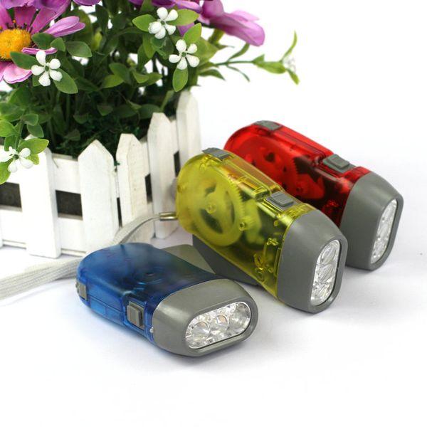 Outdoor 3 LED Hand Press No Battery Wind Up Crank Dynamo Flashlight Light Torch Camping Portable Flash Light