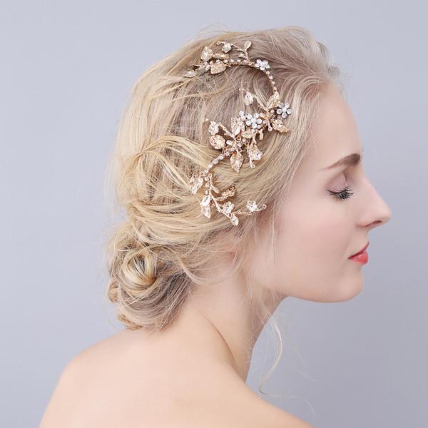 Beijia Vintage Gold Leave Wedding Hair Vine Crystal Clip de novia accesorios hechos a mano de las mujeres tocado de la joyería del pelo