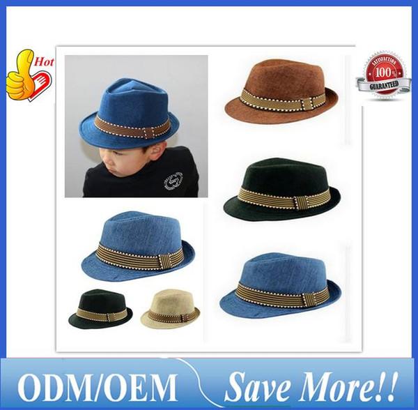 Kids Hat Cap 2016 New Fashion Unisex Fedora Hats for Boy Children Contrast Trim Cool Jazz Feminino Trilby Sombreros ouc0211 DHL