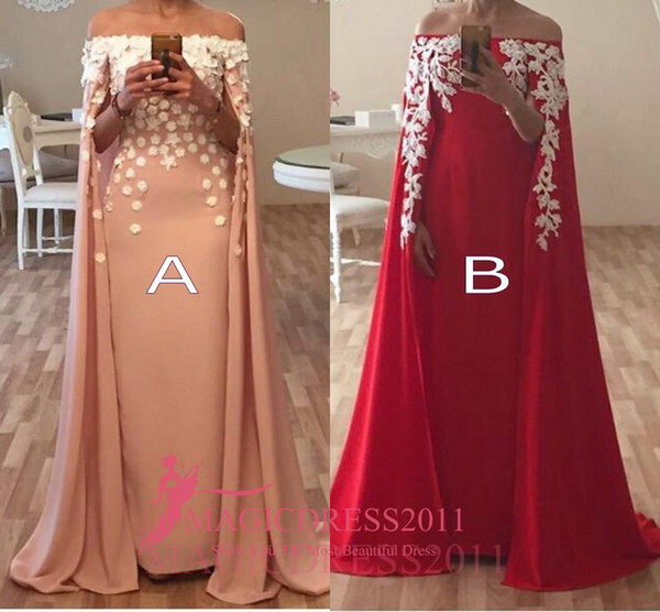 Mixed Red Blush Prom Dresses Formal Evening Gowns with Cowl Back Arabic 2016 A-Line Off-Shoulder White Appliques Ruffled Party Celebrity