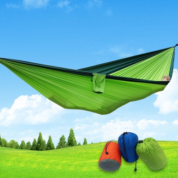 Free Shipping Newest Portable Fabric Double Hammock Parachute Nylon Durable Double Person Assorted Color For Indoor Outdoor Use Multi-color
