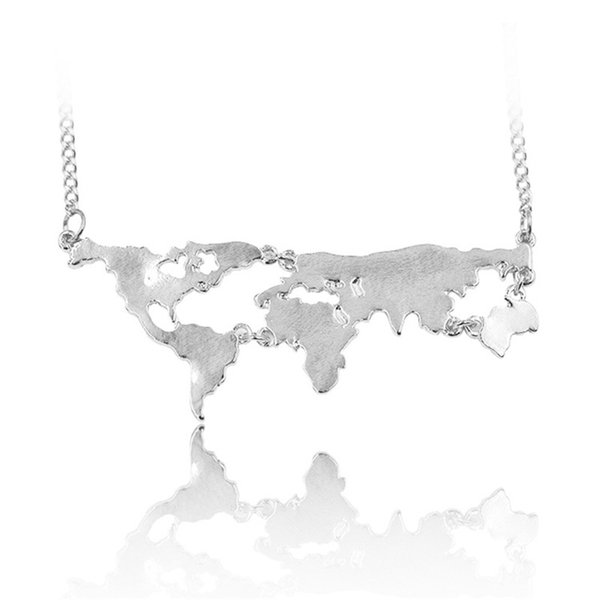wholesale New Fashion Globe World Map Pendant Necklace Personality Teacher Student Gifts Earth Jewelry free shipping