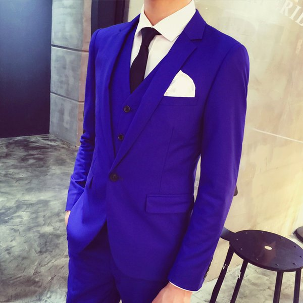 Royal Blue Tuxedo 2016 New Arrival One Button Groom Suit Prom Party ...