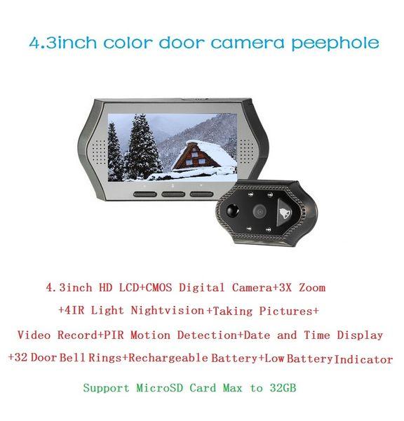 4.3inch olho magico 0.3 Megapixels door camera IR night vision PIR Motion Detection 32 Rings 3X Zoom electronic eye Max 32G