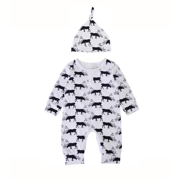 Baby deer printing onesie 2pc set hat+long sleeve romper infants cute elk pattern romper outfits for 0-1T