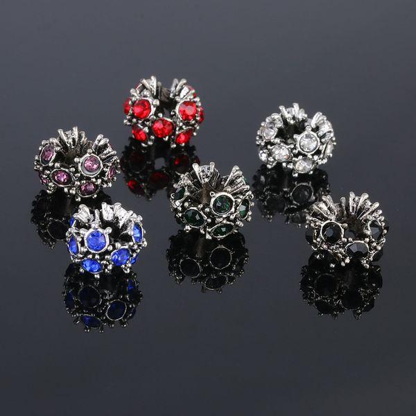 Adatto bracciali Pandora Autism Awareness Charms cuore ciondola nero / rosso / blu cristallo di fascino di puzzle per gioielli fai da te collana braccialetto di ossa