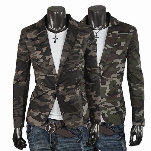 British Style Men Casual Camouflage Blazers Lapel Neck Plus Size Shiny Blazer Jackets Polyster Single Button Slim Suits For Men J160445