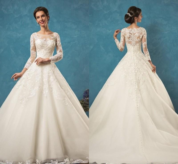 Discount 2017 Amelia Sposa Lace Wedding Dresses With Long Sleeves ...