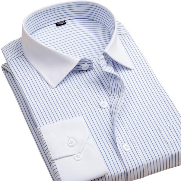 Wholesale-Autumn Men Shirts Fashion Brand Clothing Long Sleeve Men Striped Dress Shirt White Collar With Pocket Business Casual Shirt Men