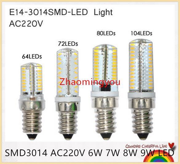 YON 10PCS Mini E14 Dimmable LED Crystal Chandelier Lamps SMD3014 Silicone Light AC220V 6W 7W 8W 9W LED Corn Bulb Pendant Spotlight