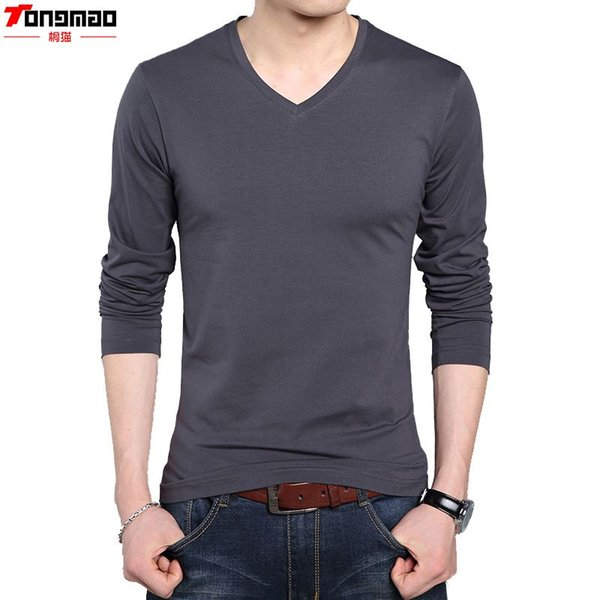 Autumn Winter Men Fashion Slim Fit Cotton V-Neck Long Sleeve Casual T-Shirt Tops Tee Black White Bray Brown Army Hot 5 size 165-185cm