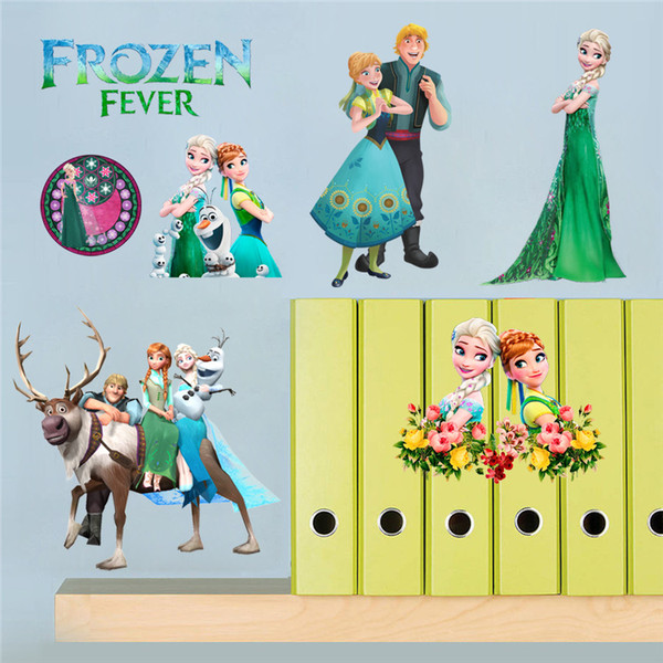 Frozen Wall Stickers For Kids Rooms Removable Wall Olaf Sticker Cartoon  Elsa Anna Olaf Princess Dream