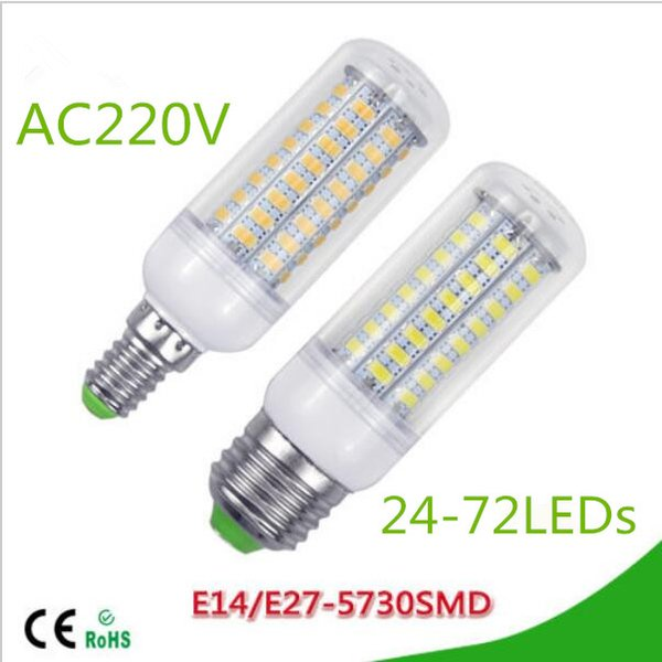 50X LED lamp E27 E14 3W 5W 7W 12W 15W 18W 20W 25W SMD 5730 Corn Bulb 220V Chandelier LEDs Candle light Spotlight