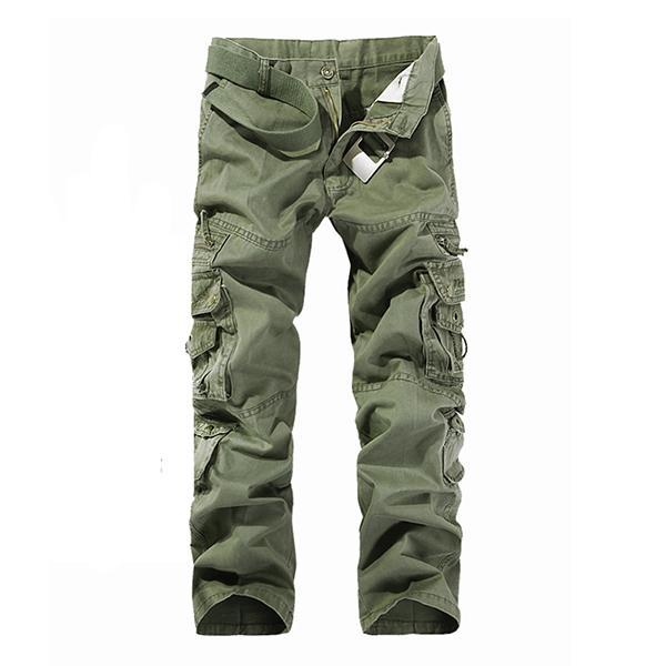 Vente chaude en plein air Hommes Coton Combat Multi-poches Occasionnels Lâche Longue Longue Longueur Cargo Pantalon de Travail Pantalon Camouflage Grande Taille: 28-42
