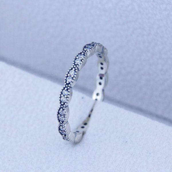 Anillo de plata con hojas de chispas con cz 100% auténtico 925 anillos de plata esterlina diy haciendo ajustes para Pandora Jewelry regalo de Navidad
