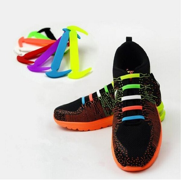 HOT Sale! 12Pcs/lot Unisex Easy No Tie Shoelaces Elastic Silicone Shoe Laces Canvas For Walking, Running, Sneakers