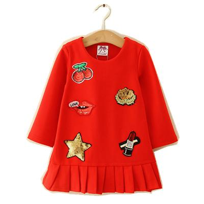 Kids Girl Dress Baby Girls Sequined Cotton Dresses 2-6Year Infant Princess Full Sleeve Party Dress Costume 2018 Children Clothes B856