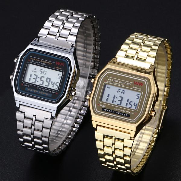 Relógios Mulheres Homens Clássicos Mulheres Retro Aço Inoxidável LED Digital Watch Sports Cronômetro Moda Relógio de Pulso