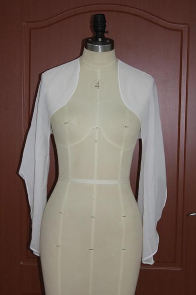 Hot Sale Beach Wedding Jacket Chiffon Evening Warps/Bolero/Shawls Long Sleeves Bride Shrugs Cheap Wedding Accessories EN10186