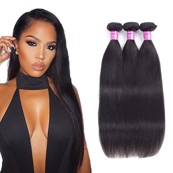Ushine 100% non trasformati brasiliane peruviane vergini diritte estensioni dei capelli umani 3-5 offerte di bundle colore naturale di lunghezza mista
