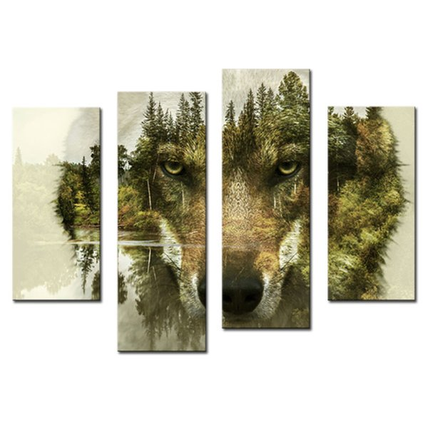 4 Panels Modern Painting Wall Art The Picture for Home Decor Wolf Pine Trees Forest Water Animal Print Canvas