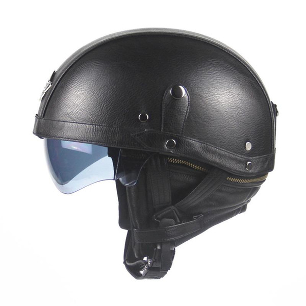 Wholesale- 2016 Brand Black Adult Leather Harley Helmets For Motorcycle Retro Half Cruise Helmet Prince Motorcycle Helmet DOT Approved