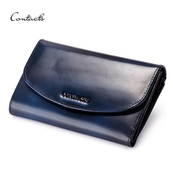 Herren Brieftaschen Fashion Design Vintage Echtem Leder Kreditkarteninhaber Kupplung Brieftasche Langen Geldbeutel Lavendel Kaffee