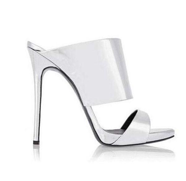Fashion Women luxury gold Slippers shining thin high heels peep toe stylish women silver sandals shoes slip on shoes women