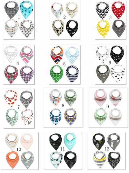best selling 41 Designs baby infant triangle cartoon bibs burp cloths waterproof Pure cotton double layer bibs bandana scarf