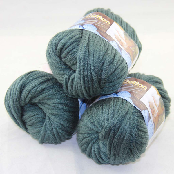 best selling Sale LOT of 3 BallsX50g Special Thick Worsted 100% Cotton Knitting Yarn Dark Green 42219