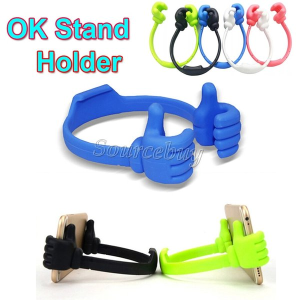 Support Portable Universel Caoutchouc Silicone OK Stand Thumb Design Tablette Support de montage pour ipad Tablet PC iPhone 7 Samsung HTC Free DHL