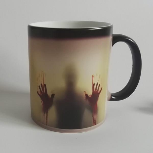 Bırak nakliye yürüyüş ölü Zombi Kahve Kupa bardağı Isıya duyarlı Magic Morphing Renk Değiştirme Çay Kupa Dönüşüm