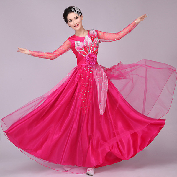 Free ship women ladies pink/yellow/blue/green/red flower leaf sequined dress event Dresses fairy dress dance stage performance